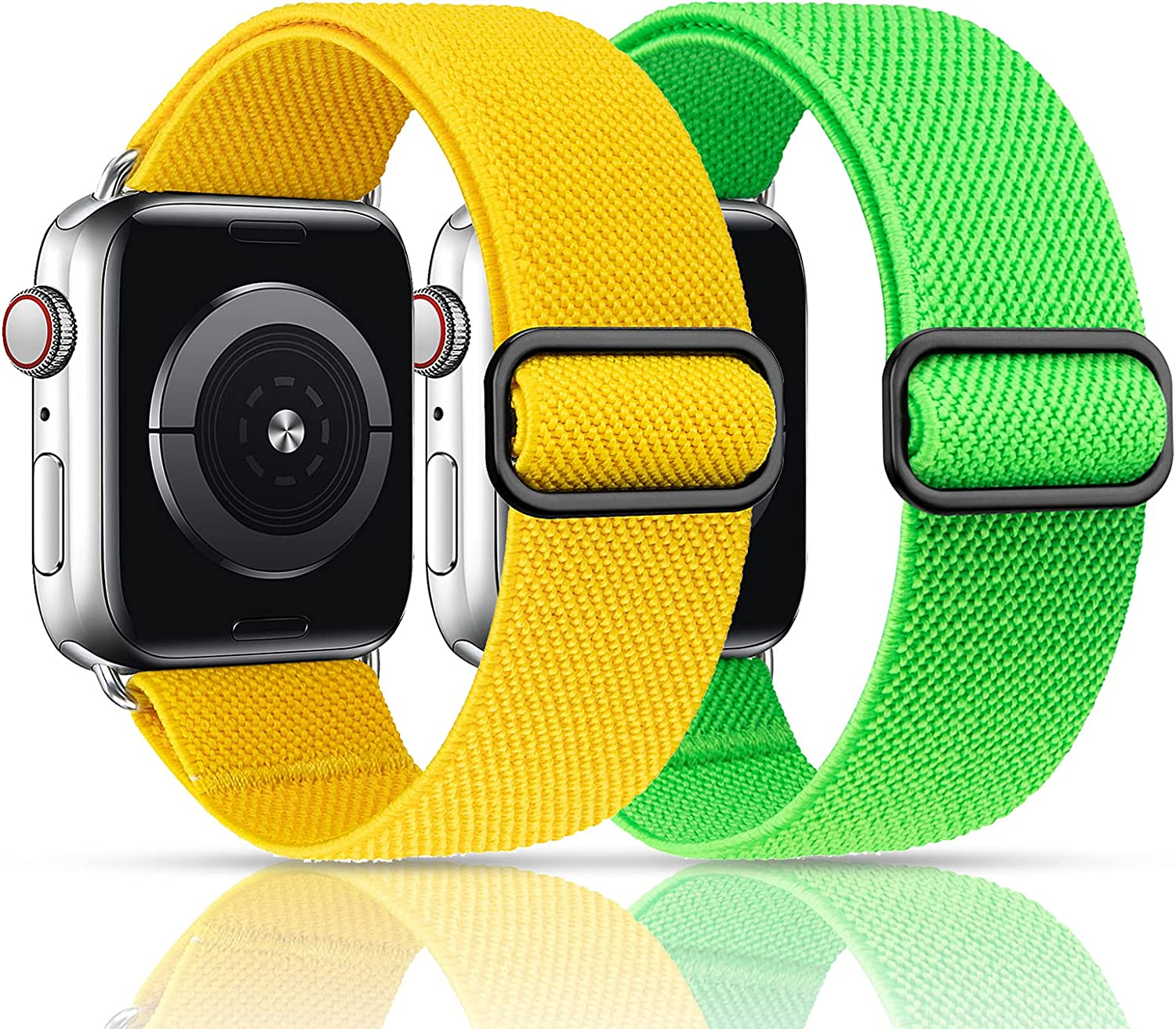 MEULOT Stretchy Nylon Solo Loop Band Compatible with Apple Watch Band 42mm 44mm 2-Pack Adjustable Braided Sport Women Men iWatch Series 6/5/4/3/2/1 SE 42mm 44mm Yellow/Green
