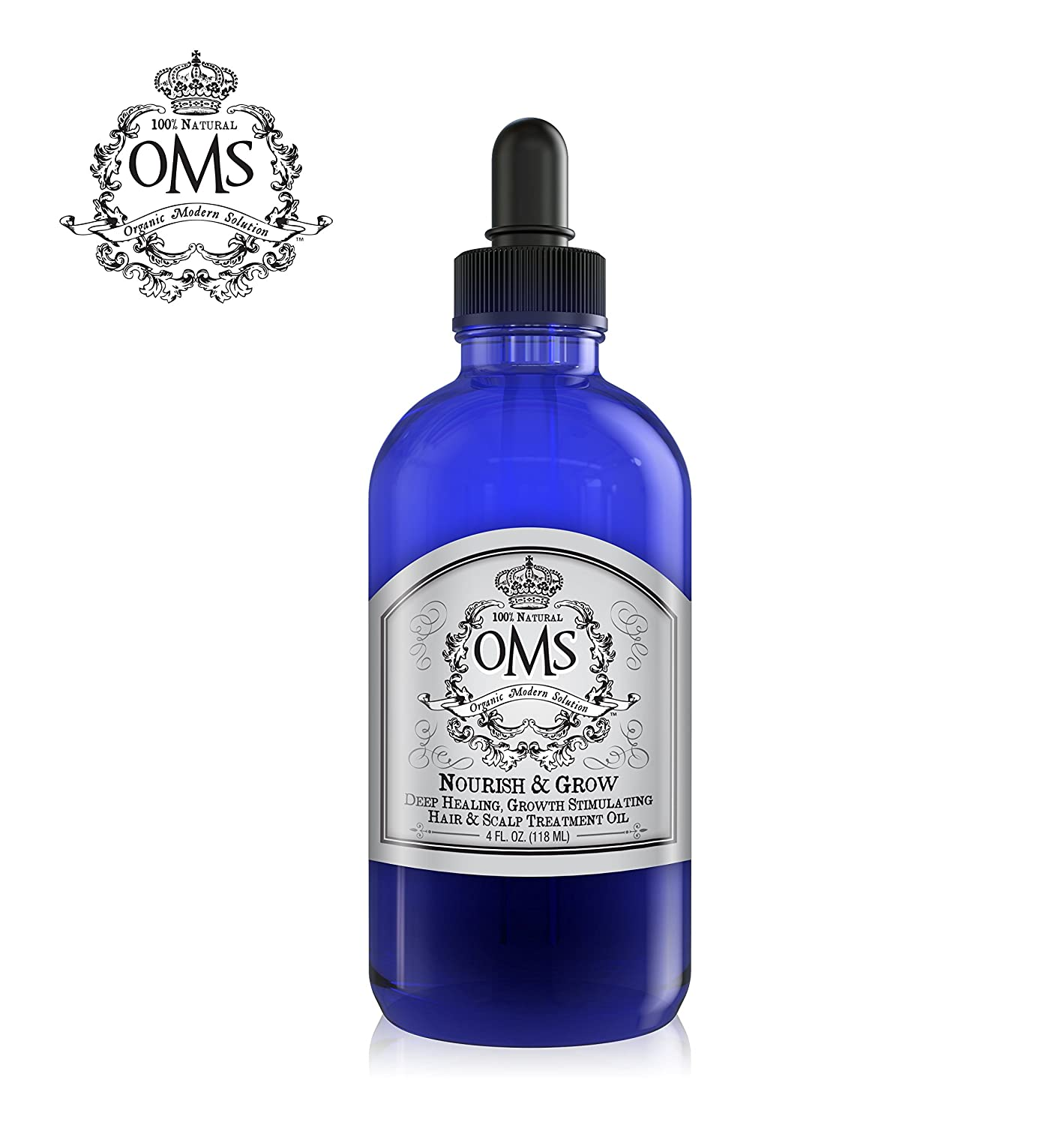 OMS Organic Hair Growth Hair Loss Thickening Oil, Deep Conditioning, Growth Stimulating, Chemical Free, 100 All Natural, Castor Oil based with Tribramla Complex 4 oz