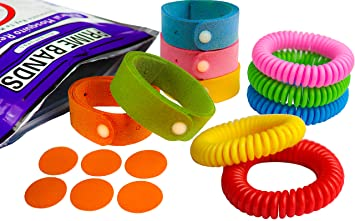 10 x Mosquito Repellent Bracelets for Adults and Children with Citronella Lemon