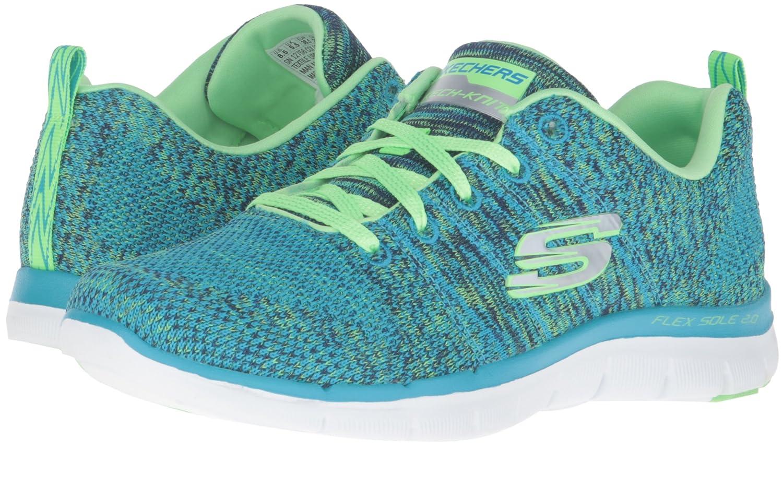 Skechers Women's Flex Appeal 2.0 Sneaker B01AHK39NC 7 B(M) US|Blue/Lime Knit