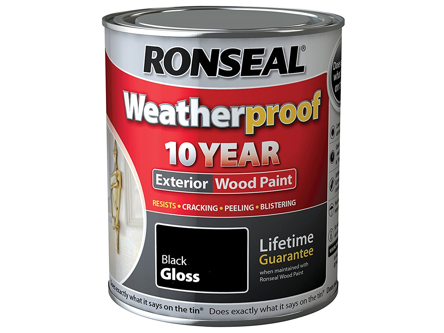 Ronseal RSLWPBLK25L Weatherproof 10 Year Exterior Wood Paint Black Gloss 2.5 Litre Toolbank