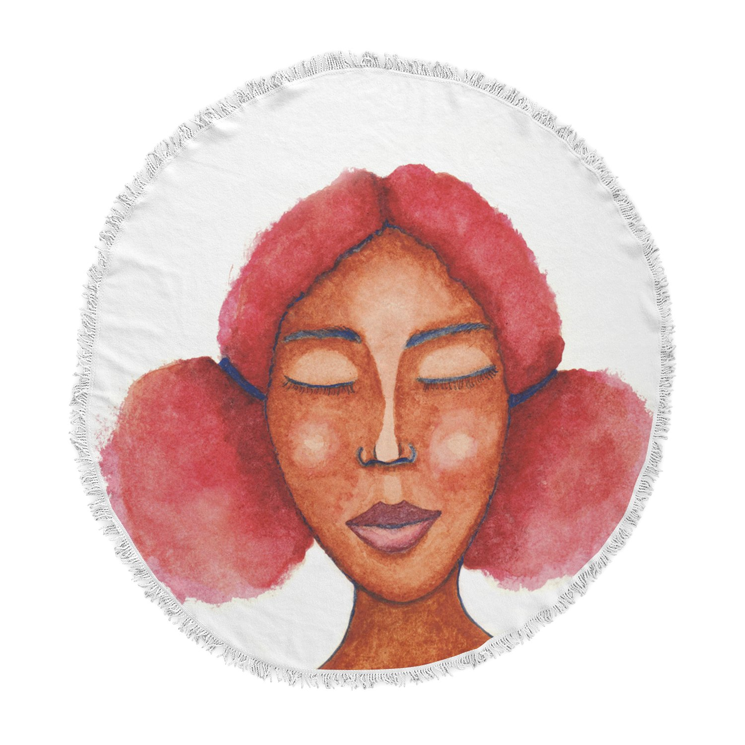 Kess InHouse Stacey-Ann Cole Five Minutes of Peace Brown Pink Painting Round Beach Towel Blanket