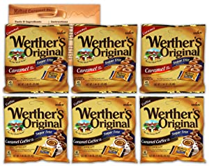 Werthers Sugar Free Hard Candy Variety Pack | Original Hard Candy and Caramel Coffee | 3 Bags Each | Bundled with Ballard Caramel Sauce Recipe Card