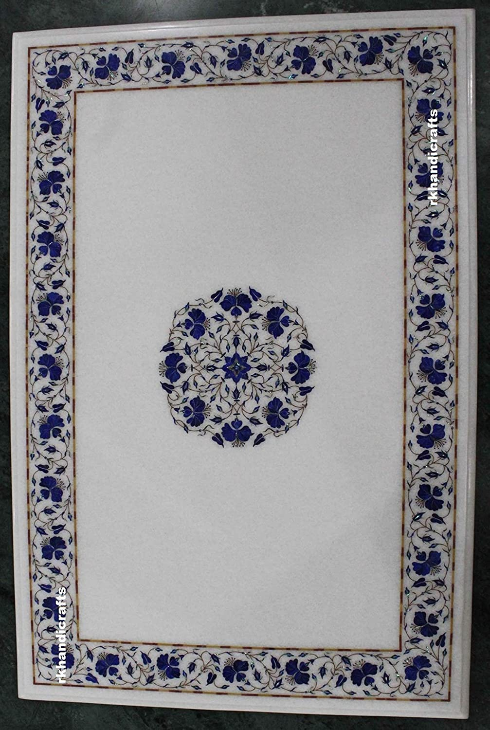 24 x 36 Inches Luxury Patio Coffee Table, Coffee Table Top Lapis Lazuli Inlaid Floral Design Perfect Home Interior 81EOMC9ehgLSL1500_