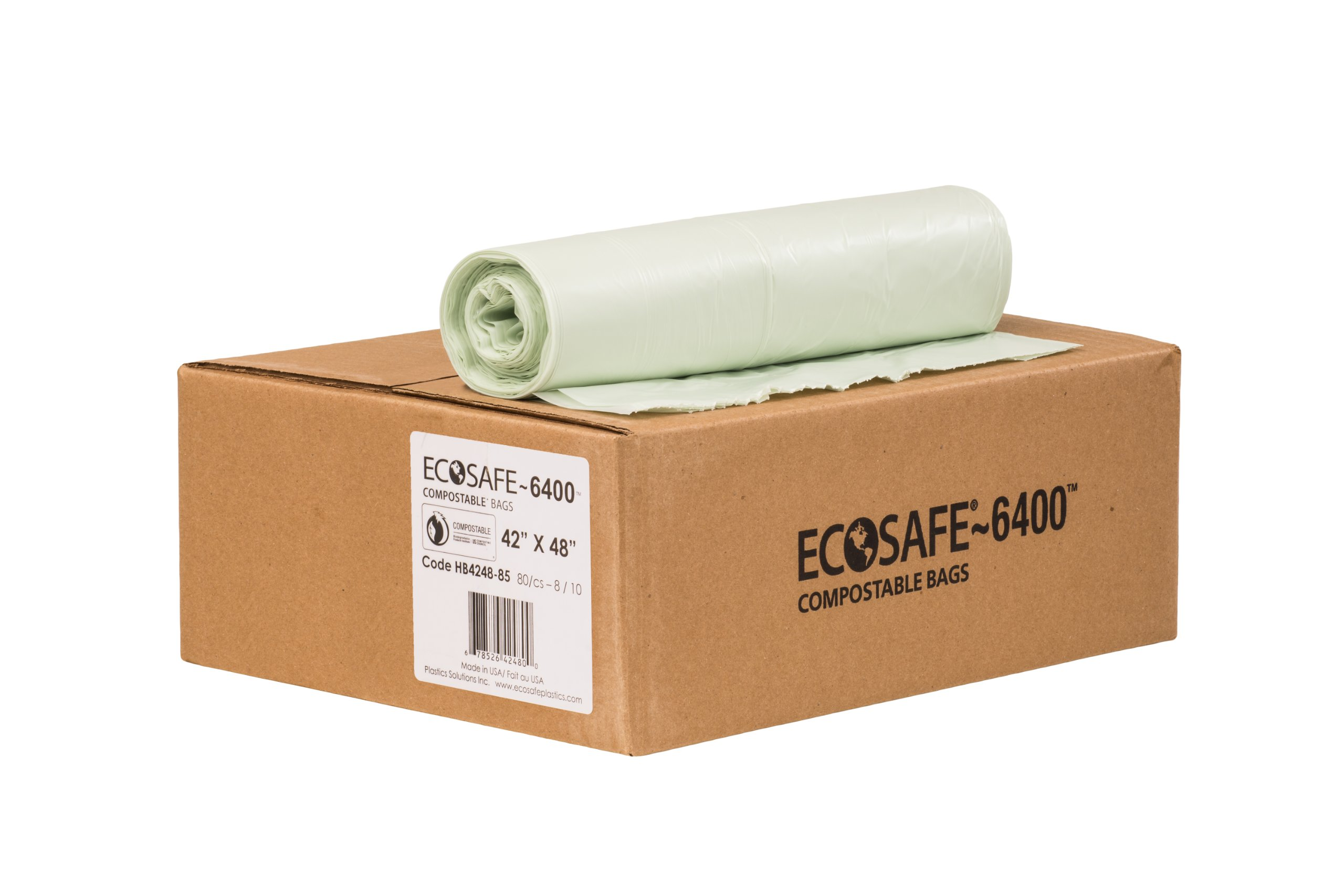 EcoSafe-6400 HB4248-85 Compostable Bag, Certified Compostable, 55-Gallon, Green (Pack of 80)
