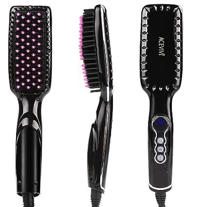 ACEVIVI Cepillo alisador de cabello iónico climatizada alisado peine cepillo cepillo de pelo de cerámica caliente