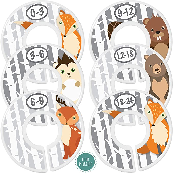Baby Closet Dividers Organizers Grey with White Deer Silhouette Grey FontFrame CD847 Baby Boy Girl Nursery Shower Gift Clothes