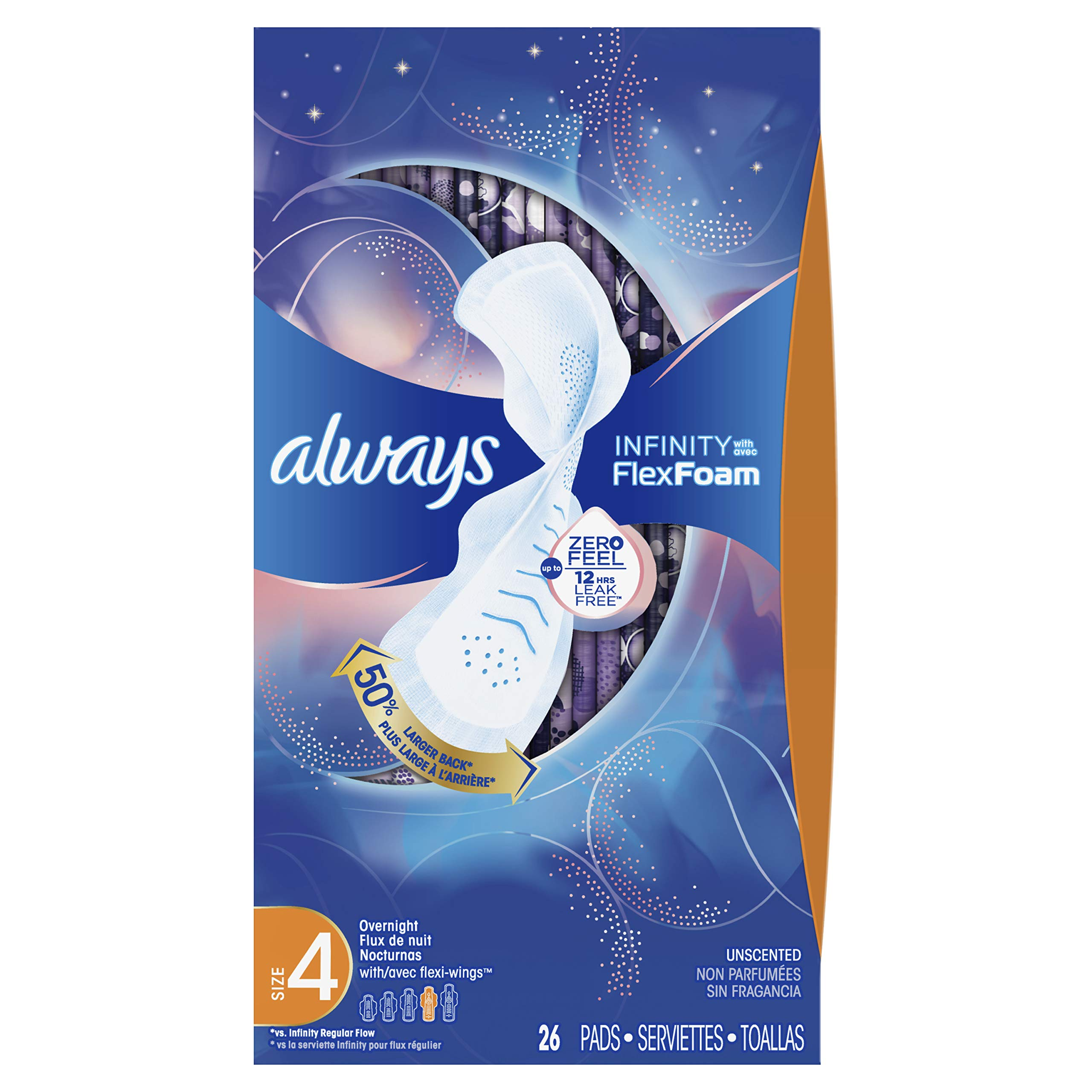 Always Infinity Feminine Pads for Women, Size 4, Overnight Absorbency, with Wings, Unscented, 26 Count,Pack of 3 (Packaging May Vary) by Always