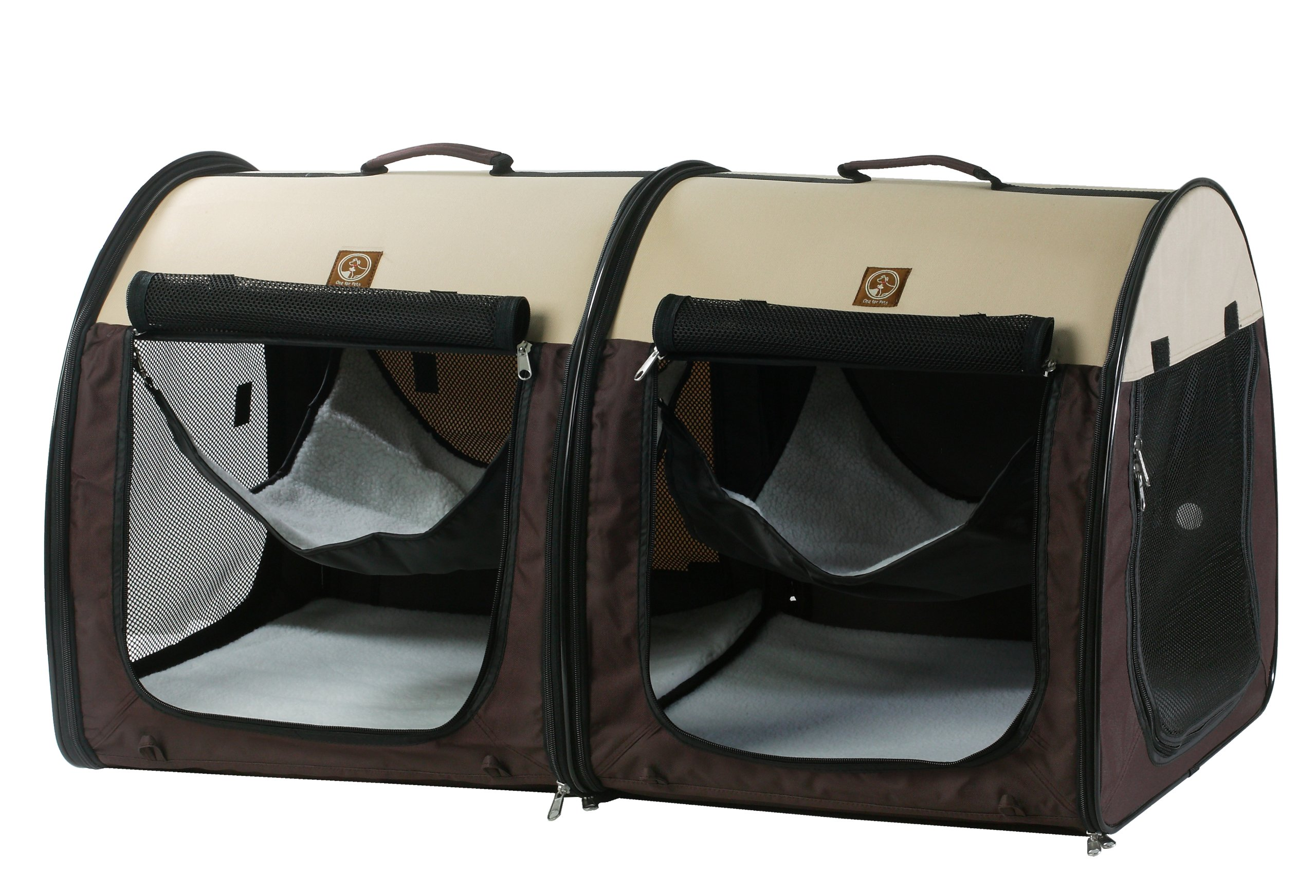 One for Pets Fabric Portable Dog Cat Kennel Shelter, Double, Cream/Brown 20''x20''x39'' by One for Pets (Image #1)