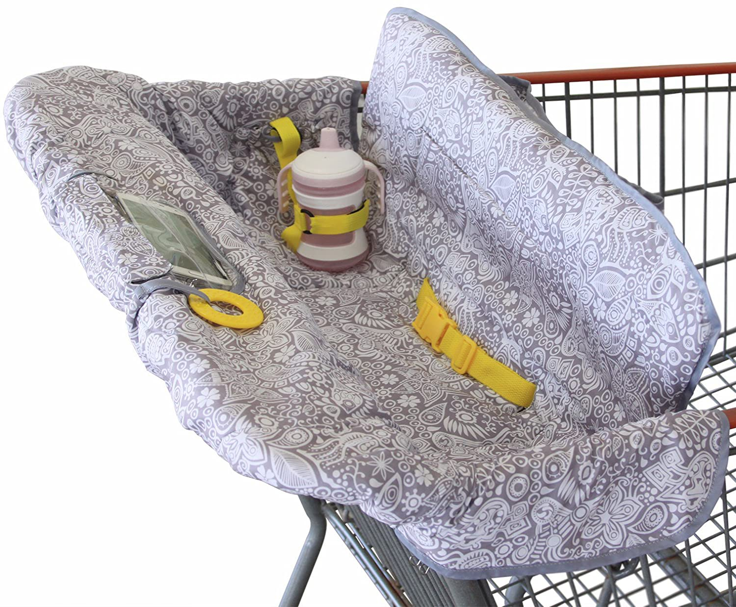 Shopping Cart Cover for Baby or Toddler | 2-in-1 High Chair Cover | Compact Universal Fit | Modern Unisex Design for Boy or Girl | Includes Carry Bag | Machine Washable | Fits Restaurant Highchair Suessie