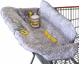 Shopping Trolley Cover for Baby or Toddler - 2-in-1 Highchair Cover - Compact Universal Fit - Modern Unisex Design for Boy or Girl - Includes Carry Bag - Machine Washable - Fits Restaurant High Chair (Sweet Dreams)