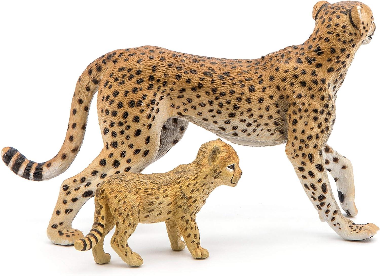 50044-NUOVO Cheetah With Cub Papo Animali selvatici-gepardin con cuccioli