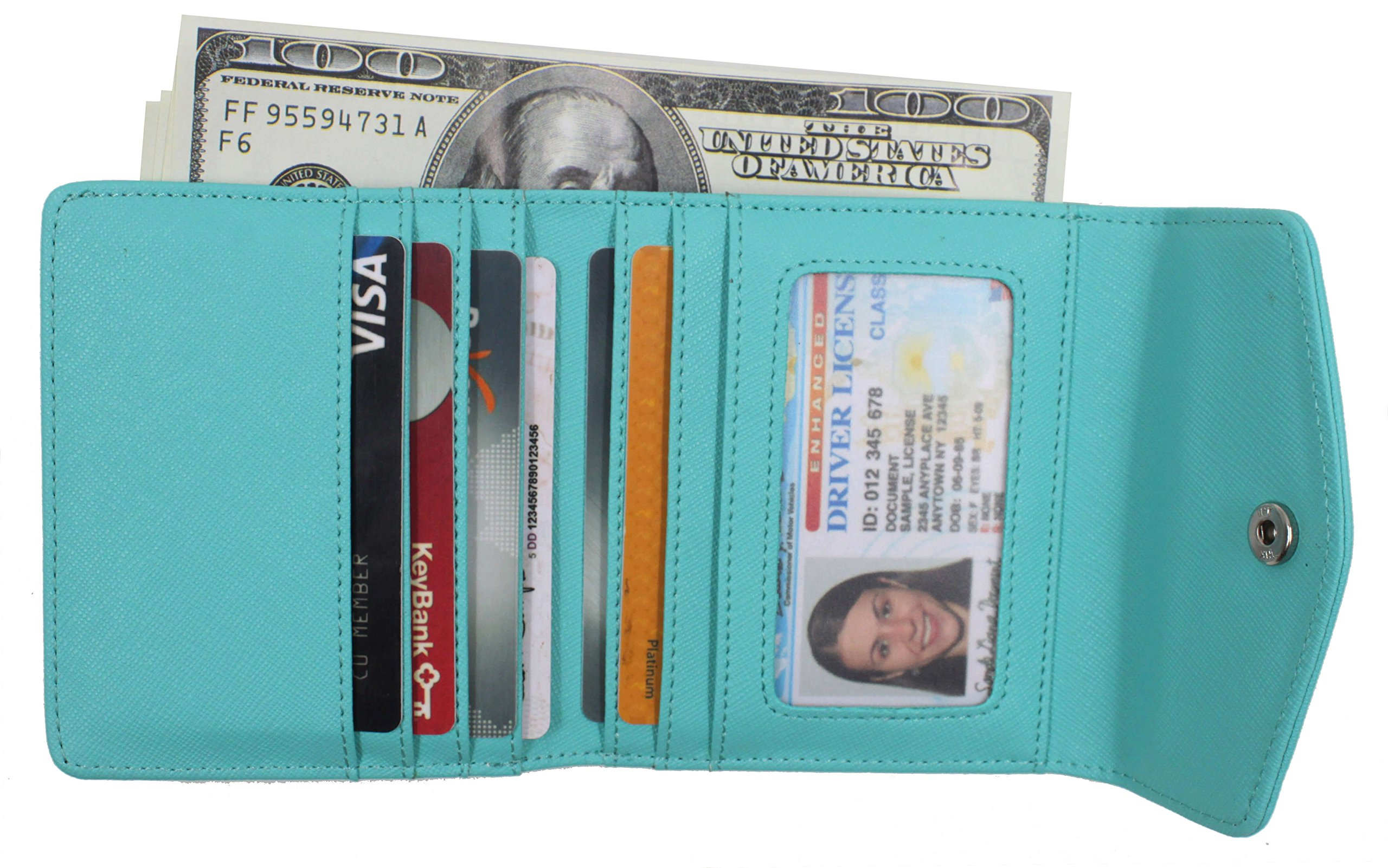Women's RFID Blocking Small Credit Card Holder Wallets Leather Pocket Mini Purse by NEUX (Image #3)