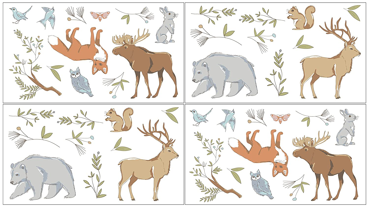 Set of 4 Sheets Sweet Jojo Designs Woodland Animal Toile Girl or Boy Baby and Kids Peel and Stick Wall Decal Stickers Art Nursery Decor