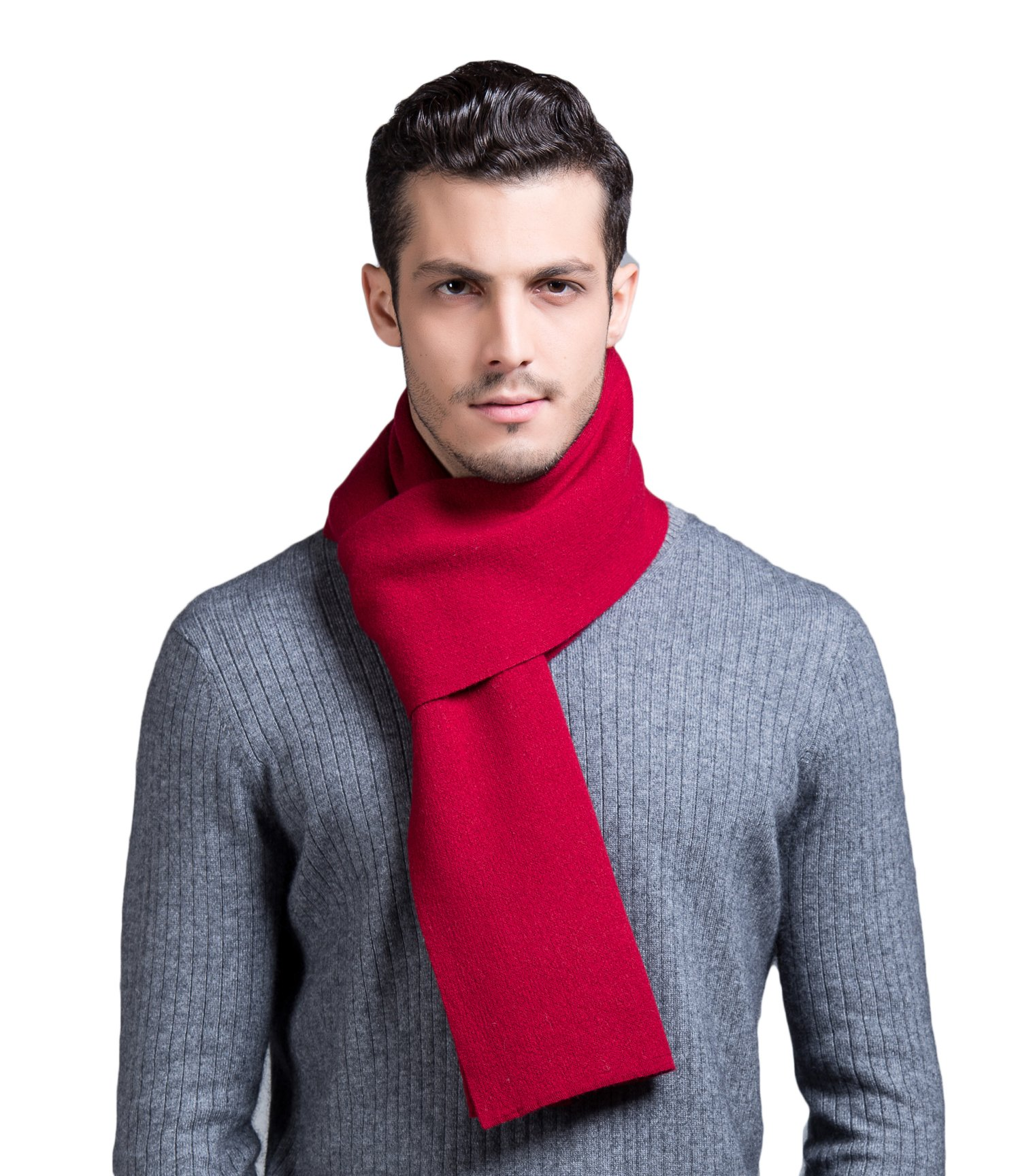 RIONA Men's 100% Australian Merino Wool Scarf Knitted Soft Warm Neckwear with Gift Box(Red)