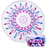 Ricdecor Beach Towel Large Mandala Beach Towel Blanket with Tassels Ultra Soft Super Water Absorbent Multi-Purpose Beach Throw 59 inch across By (NO.1R)