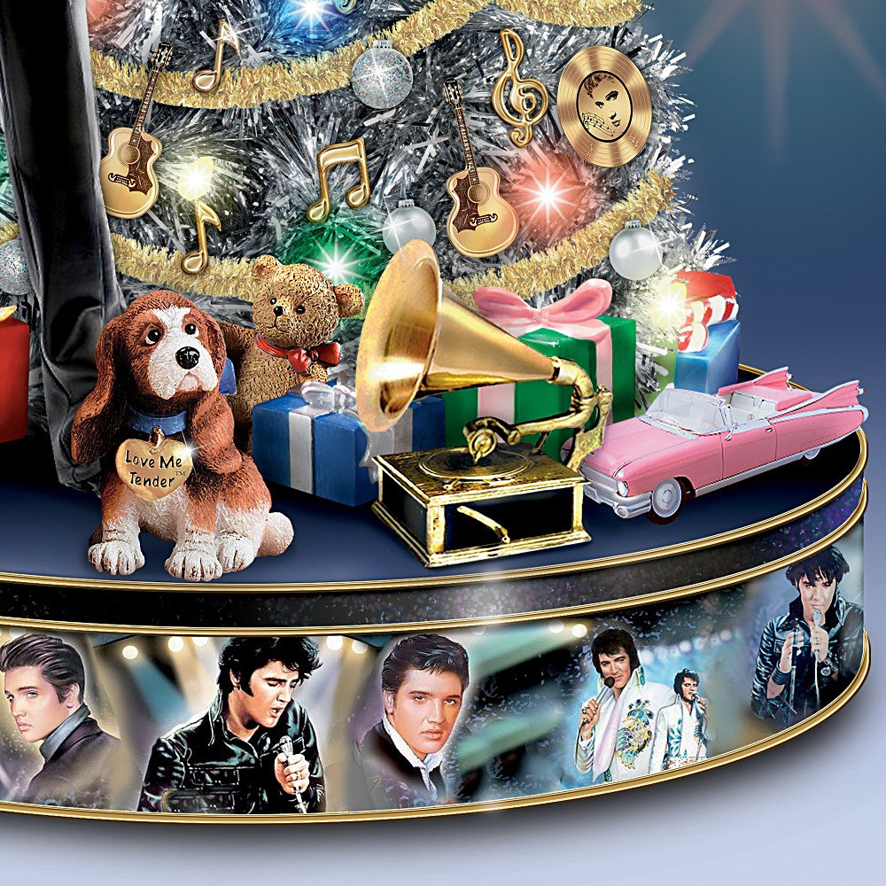 Amazon.com: Elvis Rock U0027Nu0027 Roll Pre Lit And Musical Tabletop Christmas Tree  By The Bradford Exchange: Home U0026 Kitchen