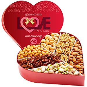 Gourmet Nut Gift Basket in Heart Box (6 Piece Assortment, 2 LB) - Fathers Day Prime Arrangement Platter, Birthday Care Package Variety, Healthy Food Kosher Snack Tray for Mom, Women, Men, Adults