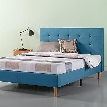blue platform bed queen zinus upholstered button tufted platform bed strong wood slat support riverside blue full amazoncom