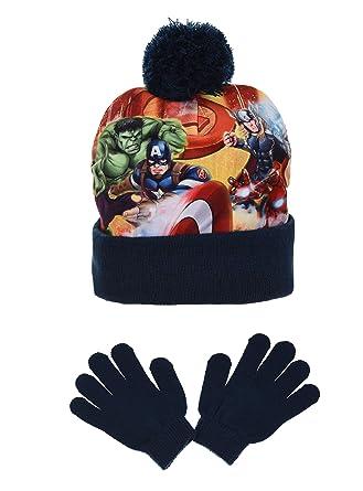Marvel Avengers Fighting Position, Ensemble Bonnet et Gant Garçon, Bleu  Marine, 2 836593f01f2
