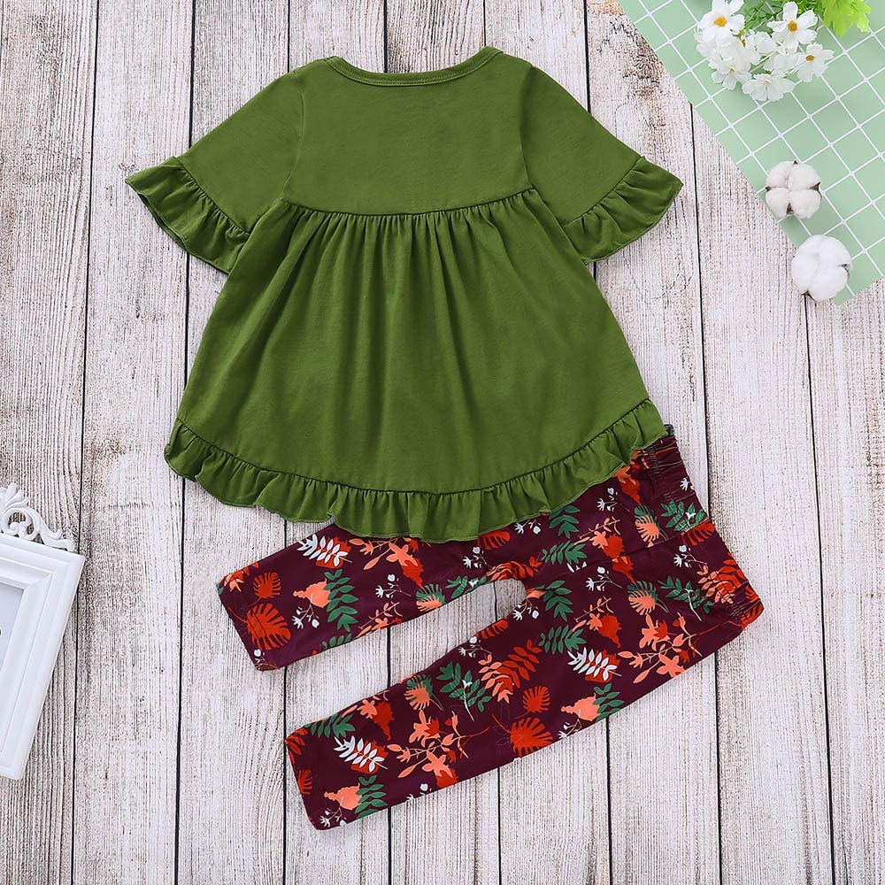 Wenjuan Ruffle Irregular Tops Dresses,Toddler Infant Baby Girls Fall Winter Clothes Shirt+Floral Pants Leggings Outfit Set