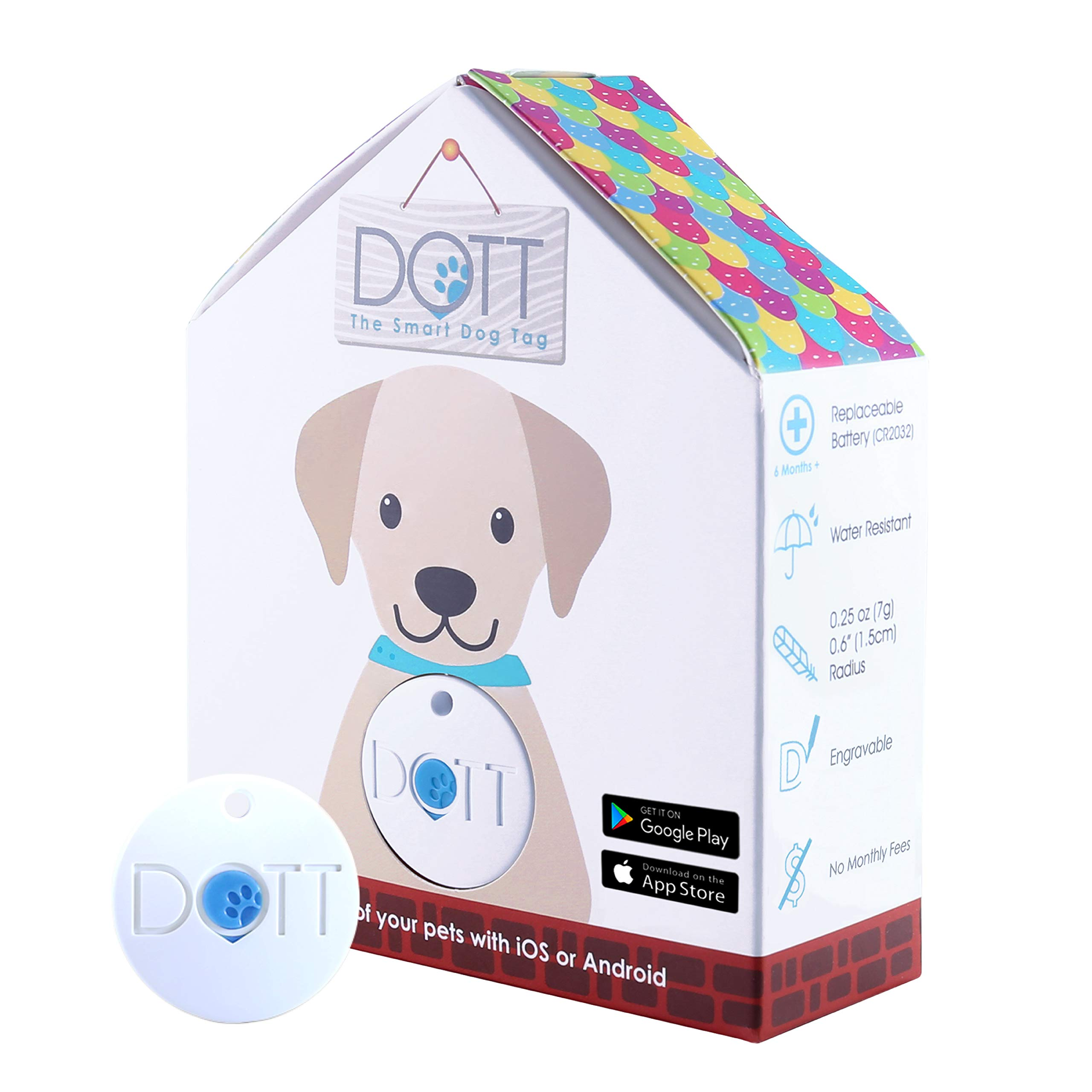 DOTT The Smart Dog Tag - Bluetooth Tracker for Dogs and Cats, Pet Finder, Virtual Leash, No Subscription (NOT A GPS Tracker) by DOTT