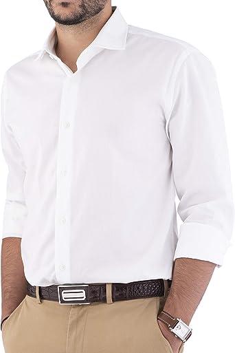 Cashmere Zone - Camisas para hombre, 100% algodón, fabricadas en Italia, cuello francés, ajustadas y cómodas, ajustadas, manga larga, color liso: Amazon.es: Ropa y accesorios