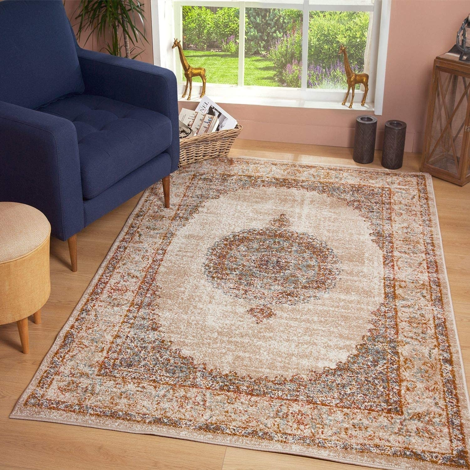 JV Home Vintage Collection Distressed Bohemian Chic Area Rug for Entryway 2 x 3 Grey//Blue