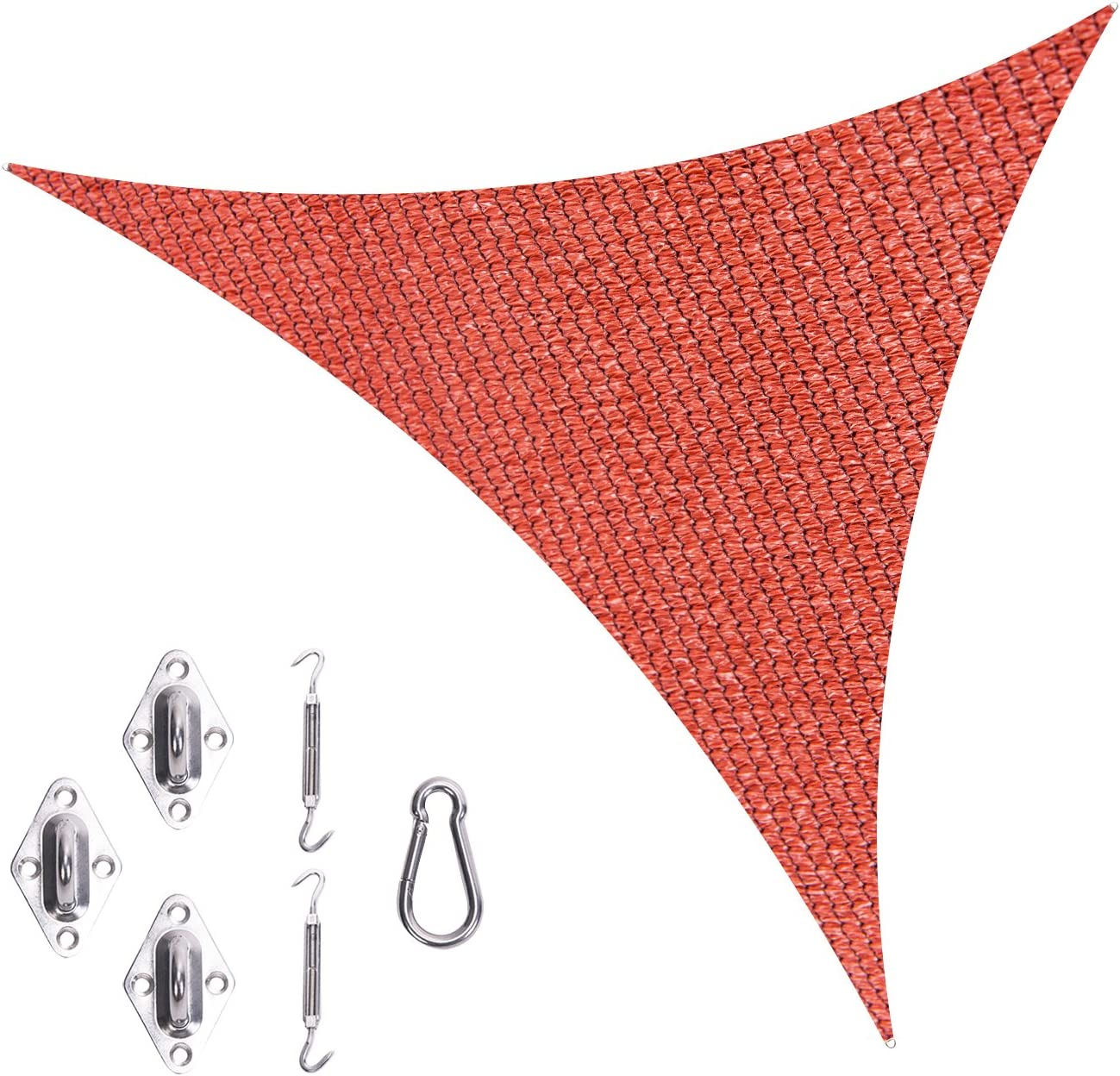 Cool Area Sun Shade Sail with Stainless Steel Hardware Kit,Triangle 16 5 x 16 5 x 16 5 , Terra