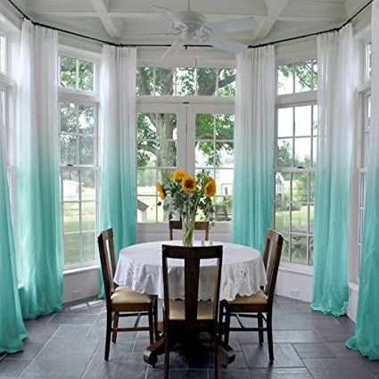 ChadMade Indoor Outdoor Gradient Ombre Sheer Curtain Pinch Pleat Teal 52quot W X 96quot L
