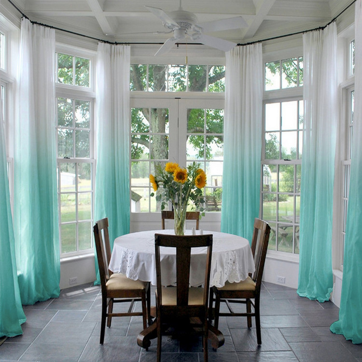 ChadMade Indoor Outdoor Gradient Ombre Sheer Curtain Pinch Pleat Teal 200'' W X 96'' L, Extra Wide Tulle Gradual Drapes (1 Panel)