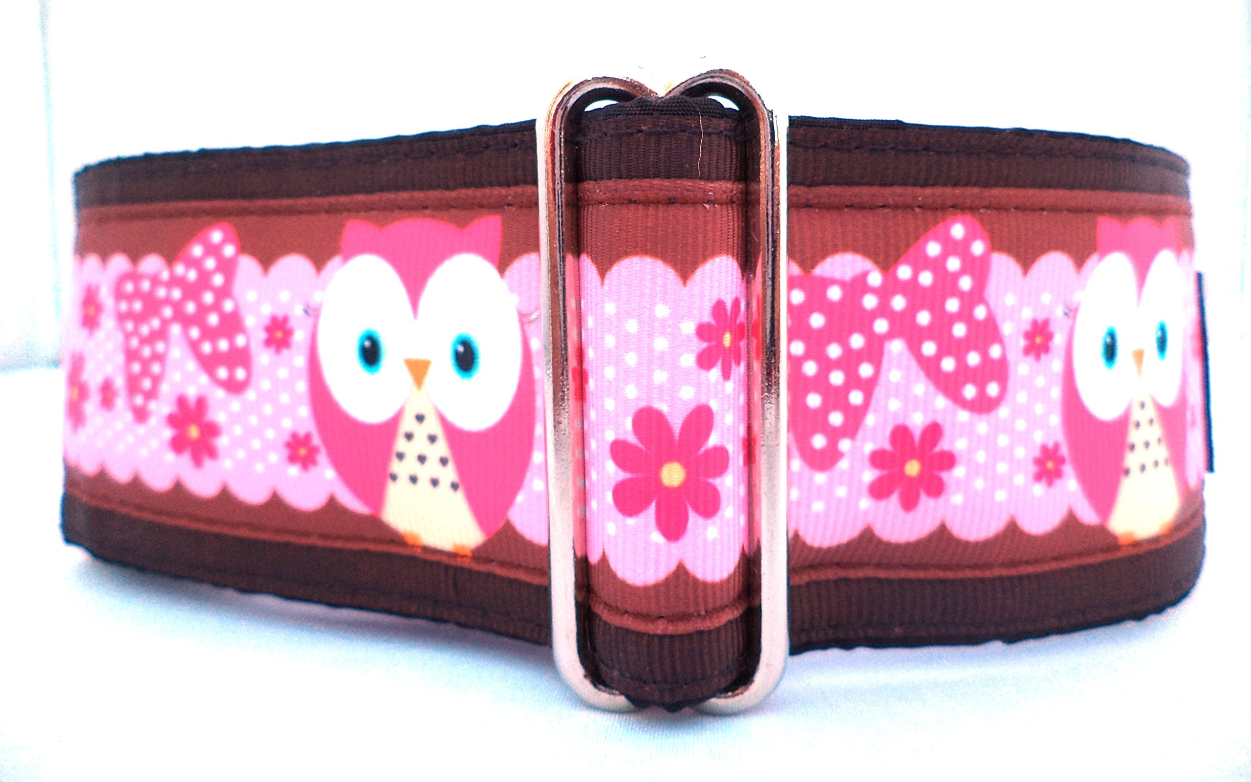 Regal Hound Designs 2'' Wide Martingale Dog Collar, Lined, 2 Sizes: Medium, Large/XL, Pink and Chocolate Owls Design (Large/XL 17-26'')