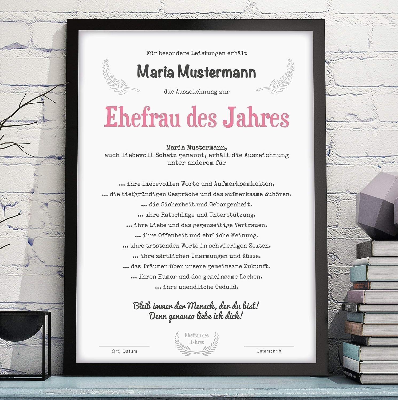optional mit Rahmen FRAU//FREUNDIN//EHEFRAU DES JAHRES Bild Urkunde Auszeichnung Danksagung Geschenkidee Geburtstag Jahrestag Hochzeitstag Valentinstag