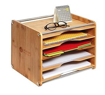 JackCubeDesign 5 Tier Bamboo Office Documento Organizador de archivos Correo de escritorio Carta A4 Bandeja clasificadora