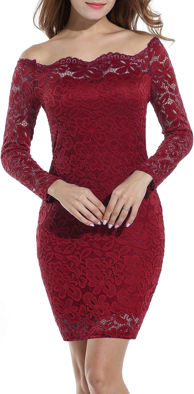 TALLA M. Acevog Vestido Cocktail para mujer Rojo Vino M