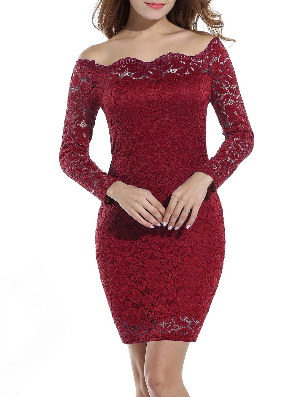 TALLA XXL. Acevog Vestido Cocktail para mujer Rojo vino XXL