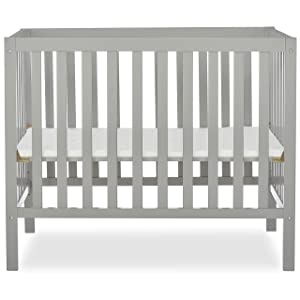 Dream On Me Edgewood 4-in-1 Convertible Mini Crib in Cool Grey