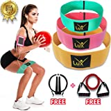 Lux Fitness Booty Resistance Bands Hip Circle Loop Exercise Workout – Set of 3 Stretchable Elastic Thick Loop Bands for Butt, Leg and Thigh, for Men, Women, Free Tube Resistance Band + Jumprope
