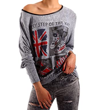 low cost 14e91 db2d9 Damen Longsleeve College Style Oversize Langarm Shirt ...