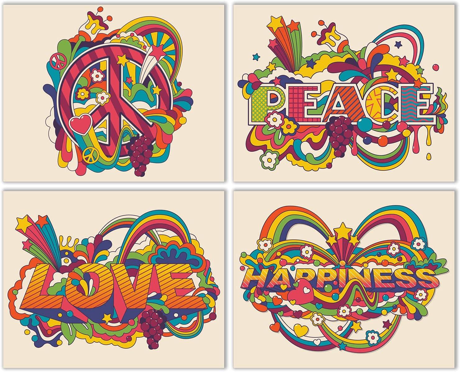 Summit Designs Hippie Love Peace Joy Wall Art Decor Prints - Set of 4 (8x10) Inch Unframed Poster Photos - Bedroom Dorm Girls Boys Gift Idea