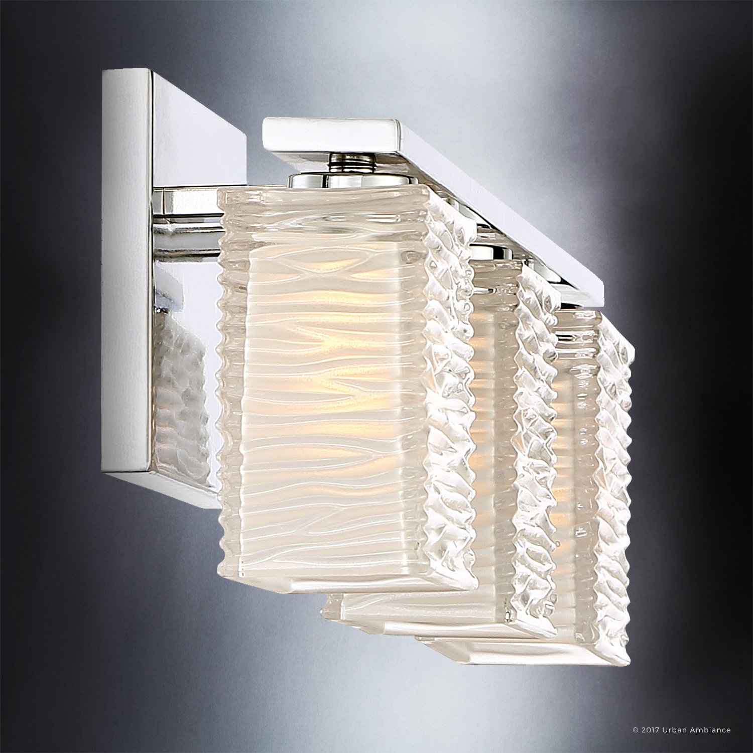 Luxury Modern Bathroom Light, Medium Size: 6.75''H x 22.5''W, with Style Elements, Polished Chrome Finish and Sandblasted Inner, Clear Wavy Outer Glass, G9 LED Technology, UQL2723 by Urban Ambiance by Urban Ambiance (Image #5)