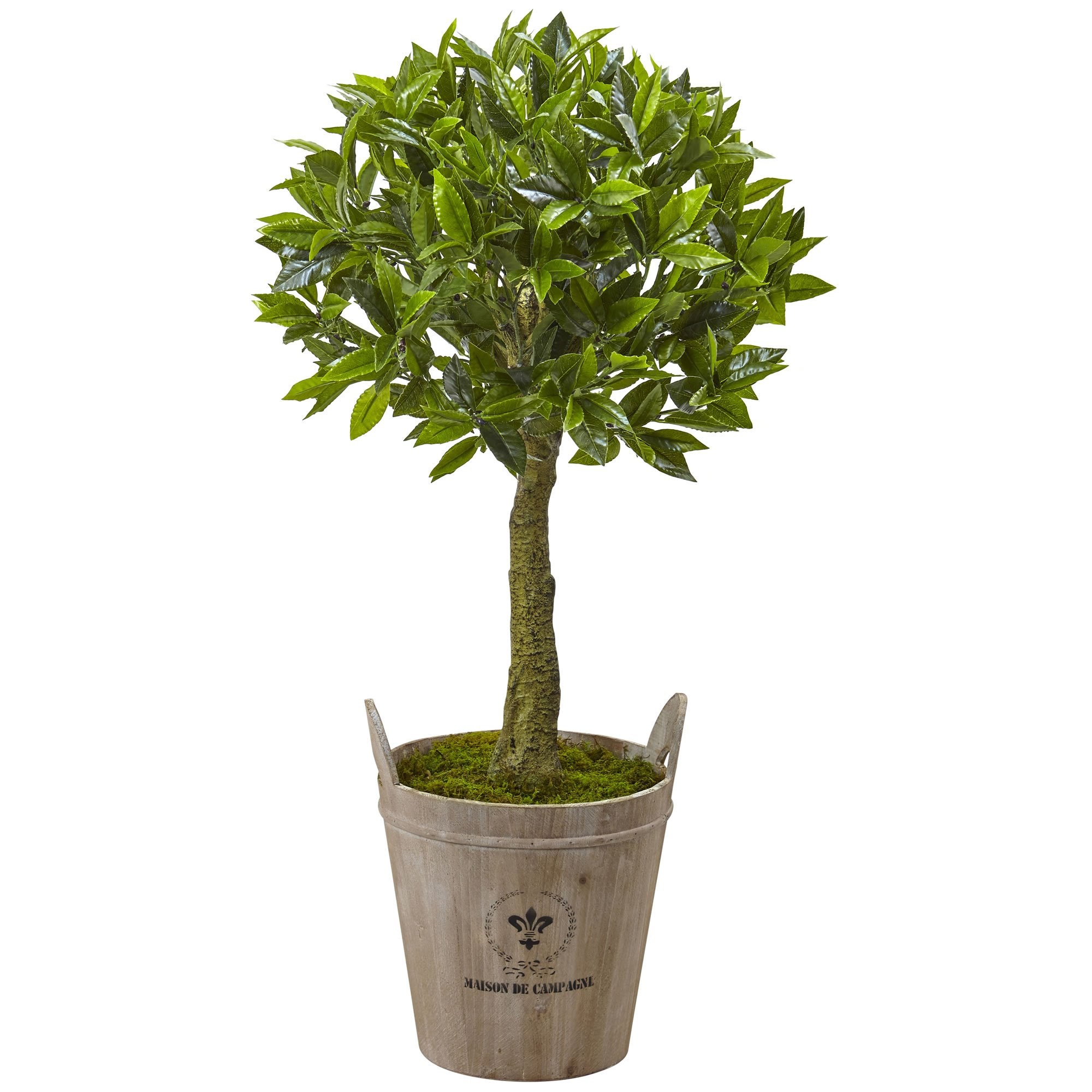 Nearly Natural 5951 38'' Sweet Bay Topiary with European Barrel Planter by Nearly Natural