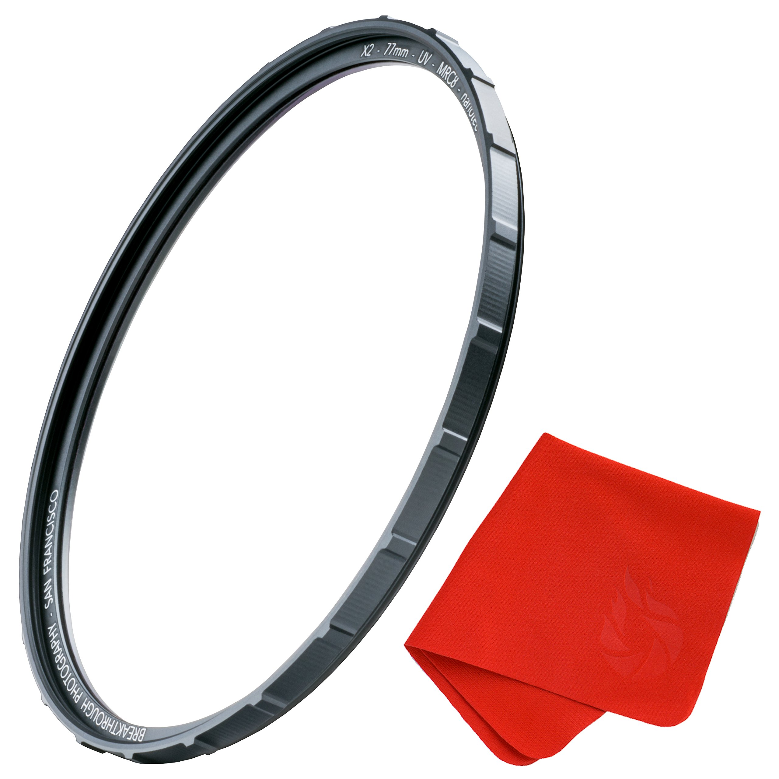 77mm X2 UV Filter for Camera Lenses - UV Protection Photography Filter with Lens Cloth - MRC8, Nanotec Coatings, Ultra-Slim, Traction Frame, Weather-Sealed by Breakthrough Photography by Breakthrough Photography