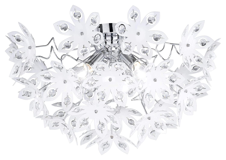 Reality Leuchten Deckenlampe chrom, Acrylblüten weiß mit klaren Steinen, Durchmesser: 55 cm Höhe: 30 cm, 3 x E14 maximal 40W, ohne LM R61903001