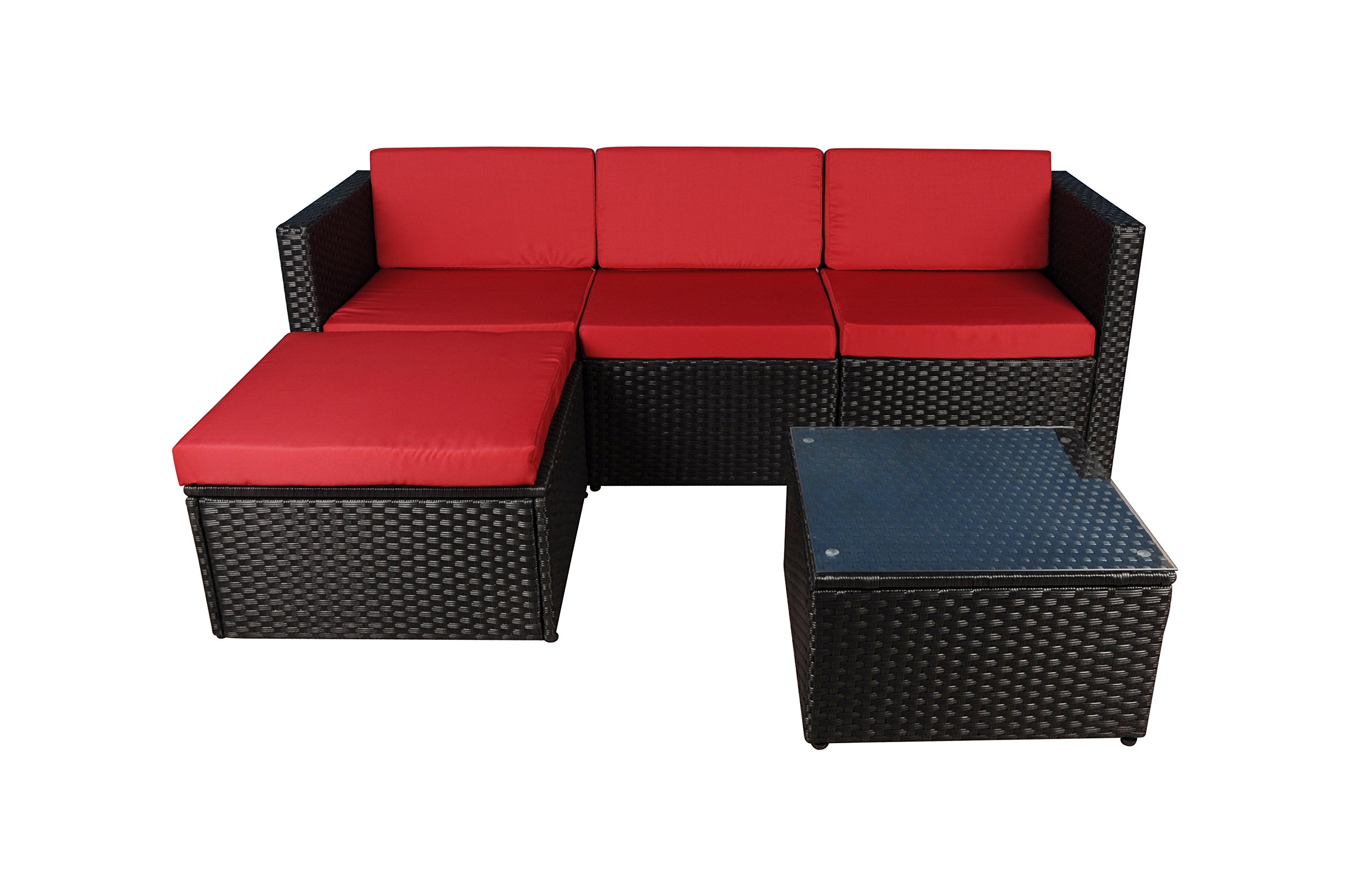Modern Outdoor Garden, Sectional Sofa Set with Coffee Table - Wicker Sofa Furniture Set (Black / Red)
