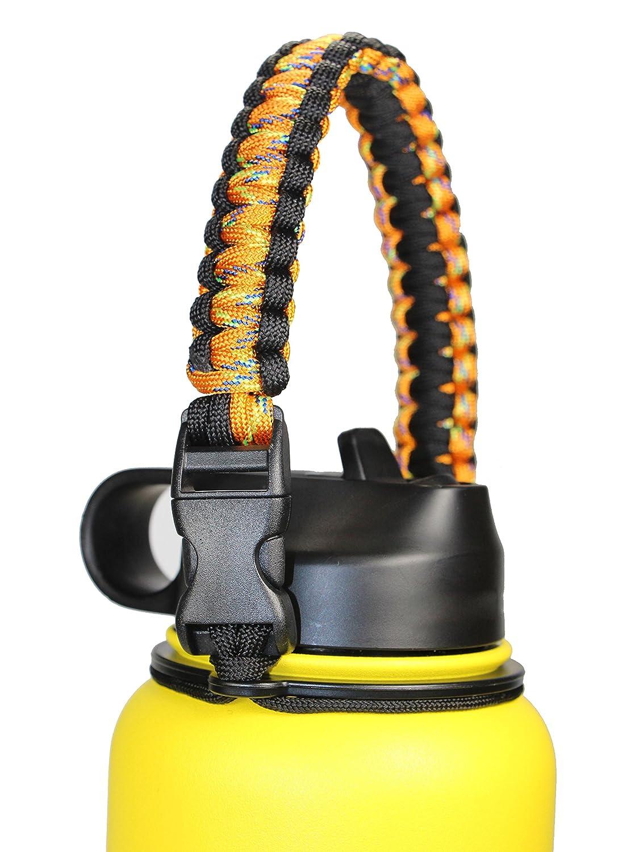GALAXTEK Hydro Fläschchen Griff für Wide Mouth Bottle - langlebig Paracord Carrier, sicheres Design Zubehör, Survival Kordel mit Sicherheit Ring und Karabiner, Premium Qualität