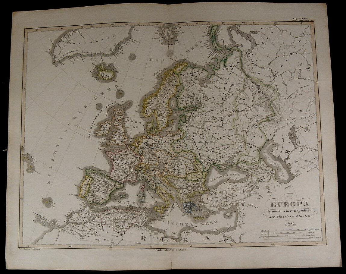 Map Of England France And Germany.Europe Russia Germany France England Spain Italy Nice 1854 Fine