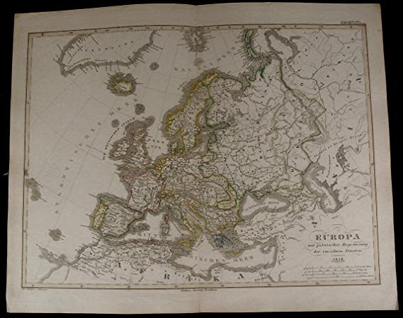 Map Of France England And Spain.Europe Russia Germany France England Spain Italy Nice 1854 Fine Old