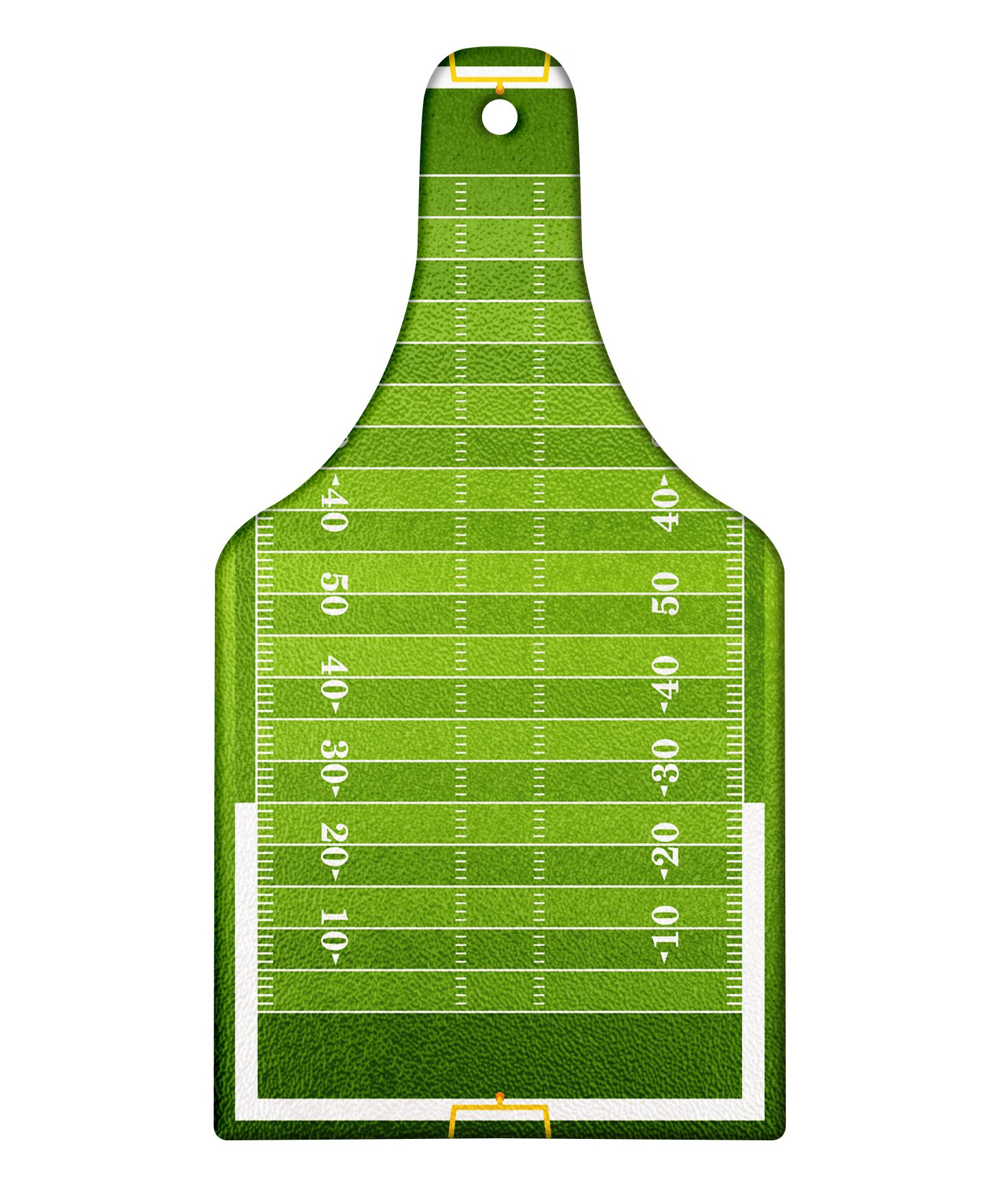 Lunarable Football Cutting Board, Sports Field in Green Gridiron Yard Competitive Games College Teamwork Superbowl, Decorative Tempered Glass Cutting and Serving Board, Wine Bottle Shape, Green White