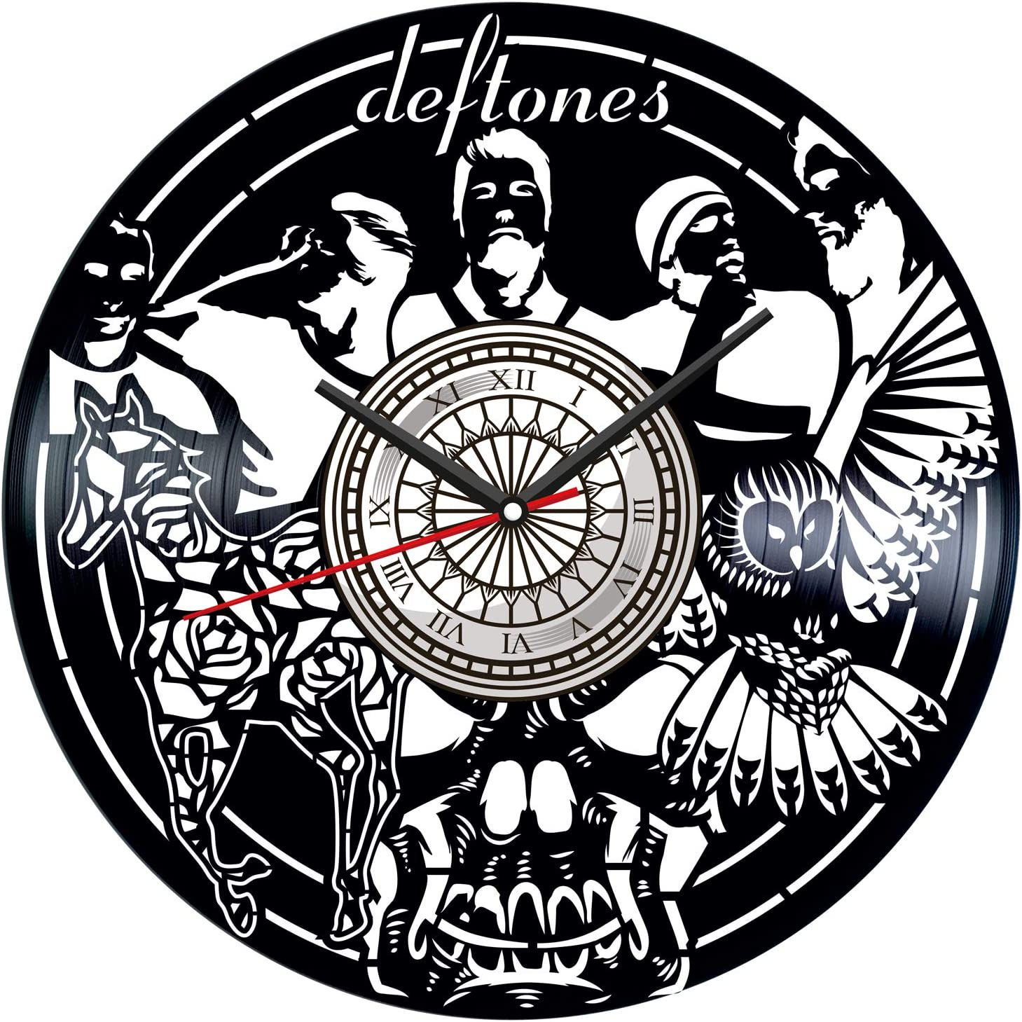 Deftones Band Vinyl Record Wall Clock Poster - Vintage Home Decor Kitchen Bedroom Living Room Office - Unique Handmade Gift for Men Woman Friends Boys - 12 inches